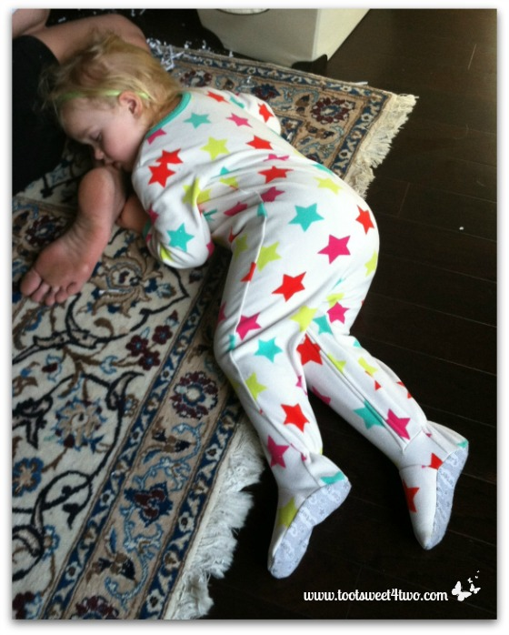 Princess Sweetie Pie asleep on Mommy's foot