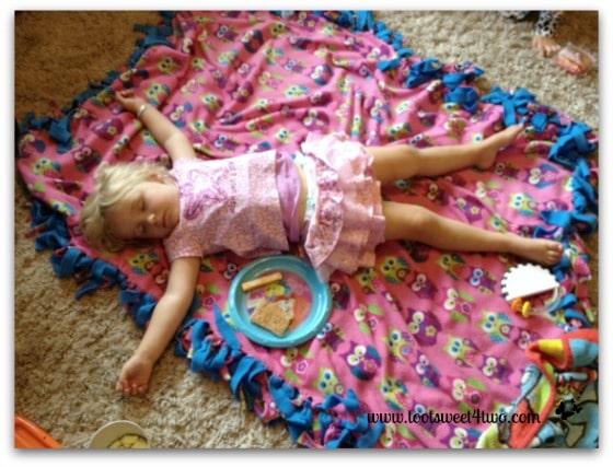 Princess Sweetie Pie asleep on her blanket