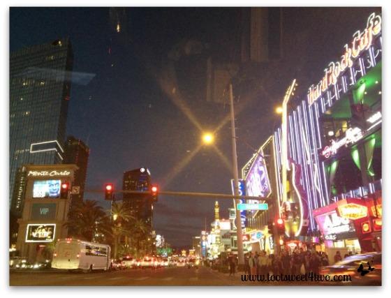Las Vegas Strip at night thru the car window