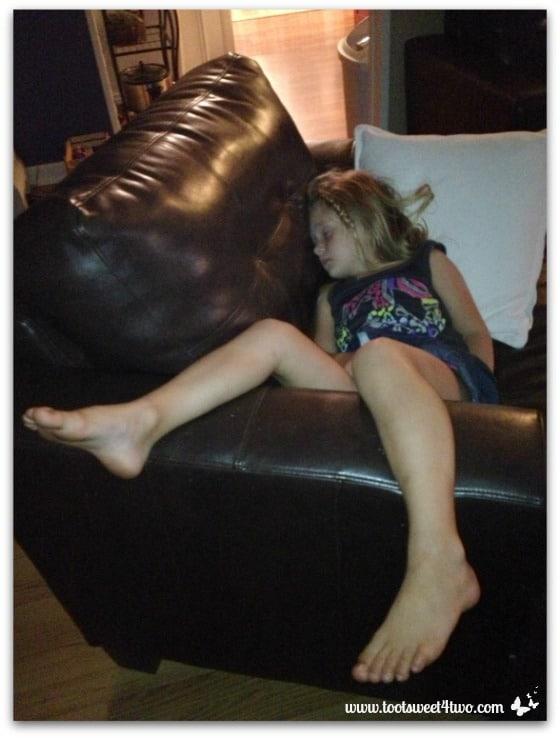 Princess P asleep in chair