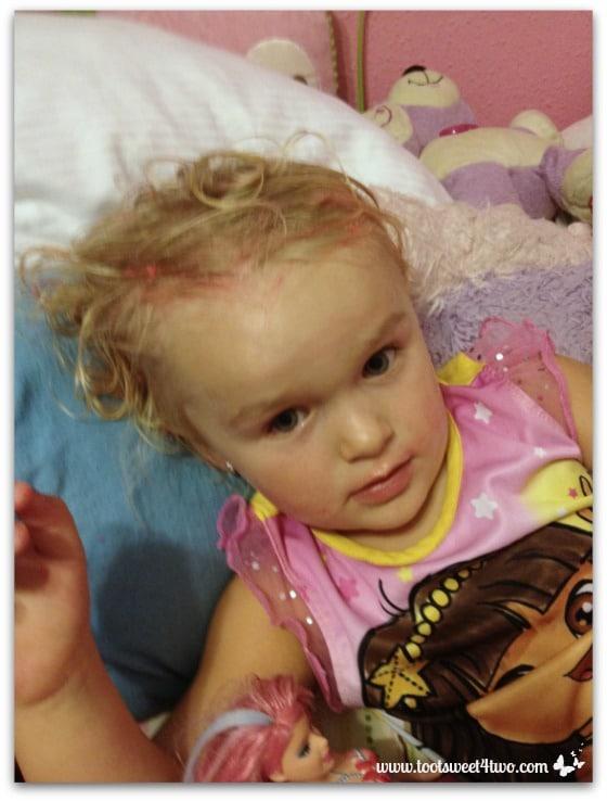Princess Sweetie Pie with gunk in her hair