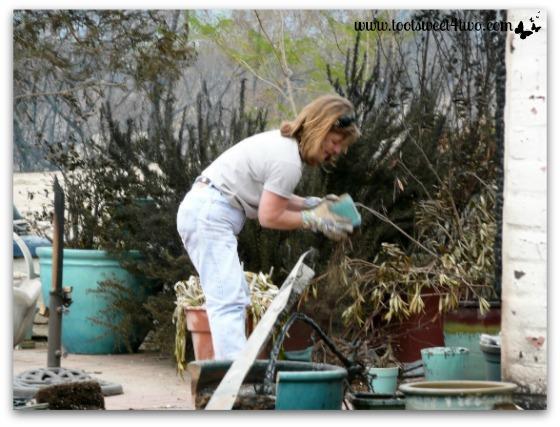 Zoe examining a turquoise pot