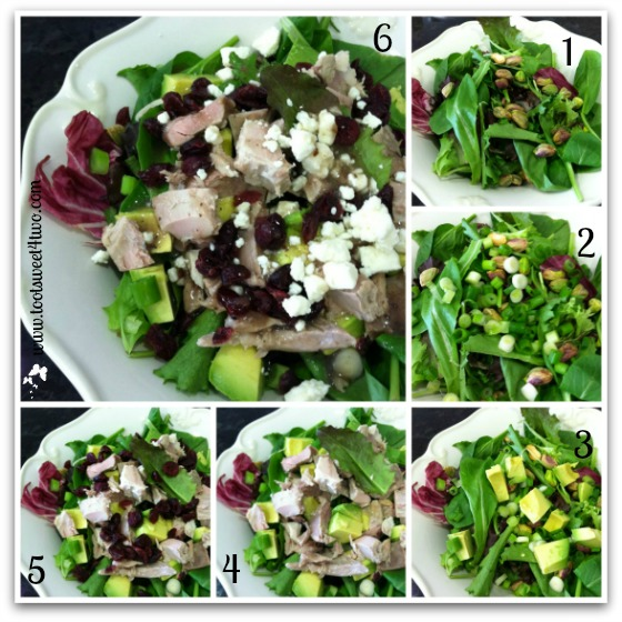 Assembling Turkey and Avocado Salad with Craisins