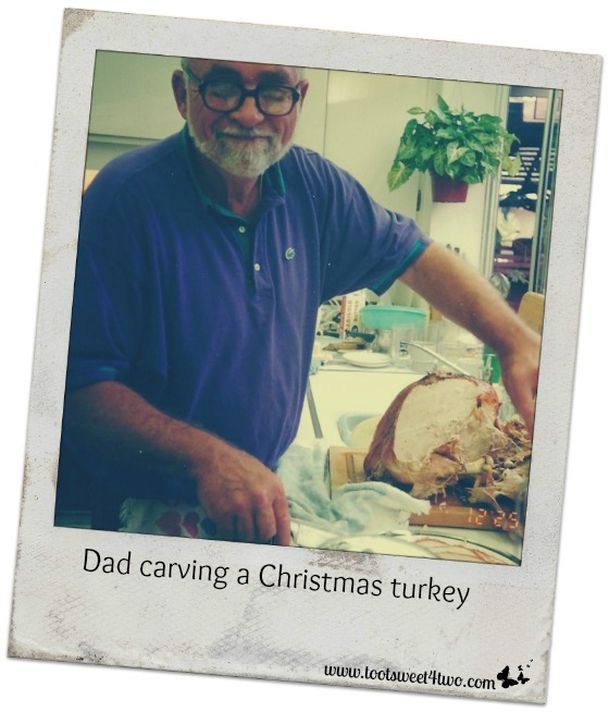 Dad carving a Christmas turkey