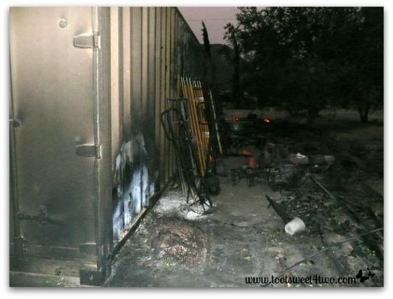 Fire damaged storage unit