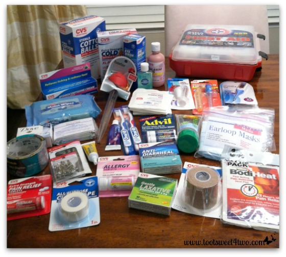Items purchased for the first aid kit