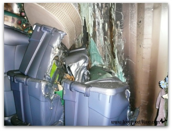 Melted plastic tubs in storage unit