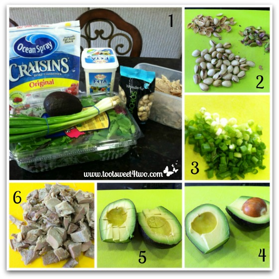Preparing ingredients for Turkey and Avocado Salad with Craisins
