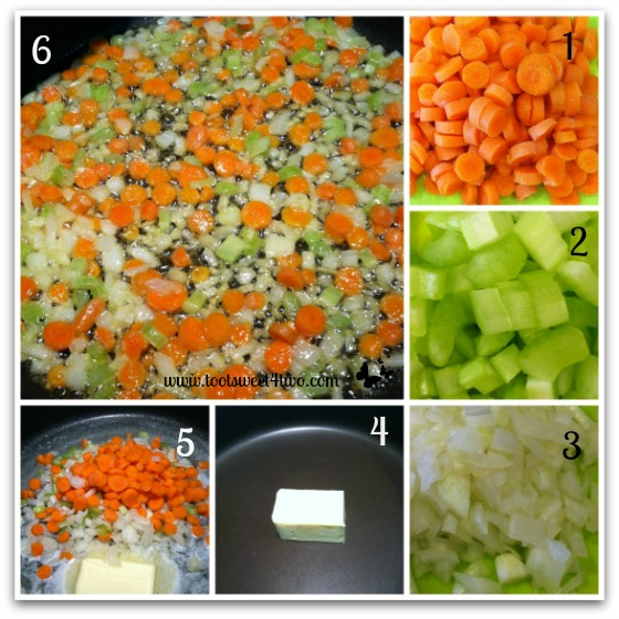 Preparing the veggies for Turkey Pull-Apart Pot Pie