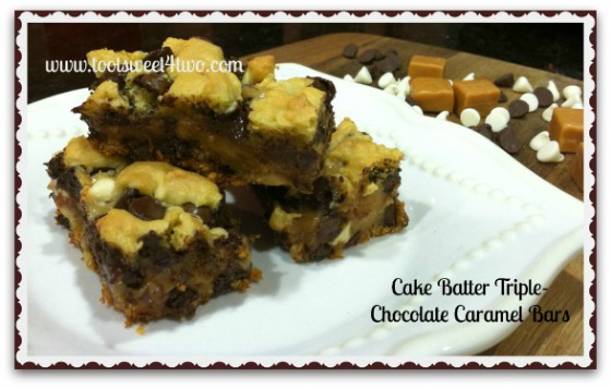 Cake Batter Triple-Chocolate Caramel Bars cover