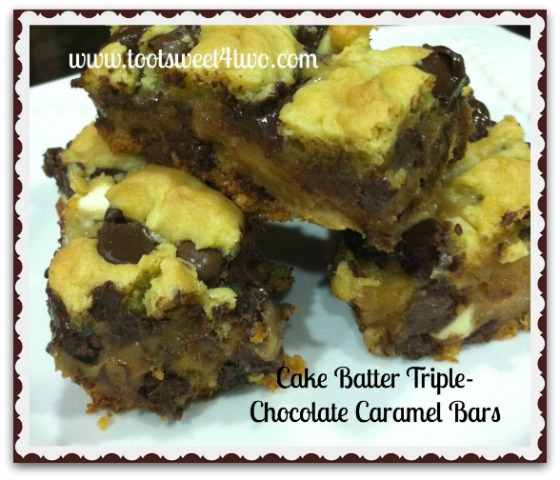 Cake Batter Triple-Chocolate Caramel Bars