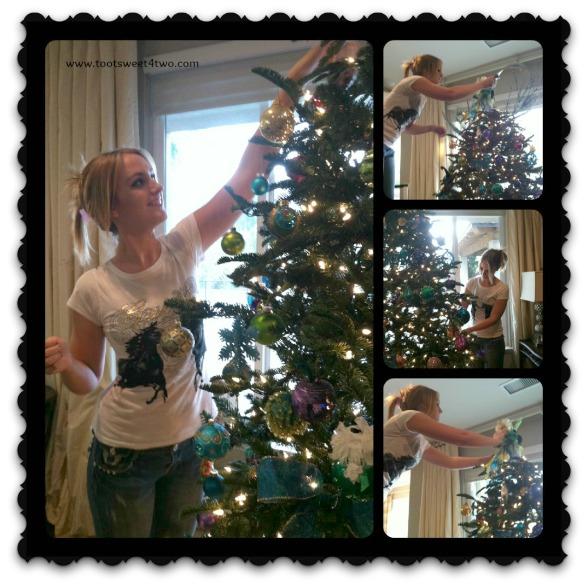 Samantha decorating the tree