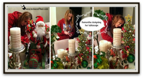 Samantha working on the Christmas tablescape
