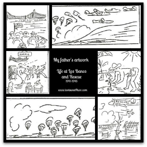 Sketches of Los Banos rescue - 1945
