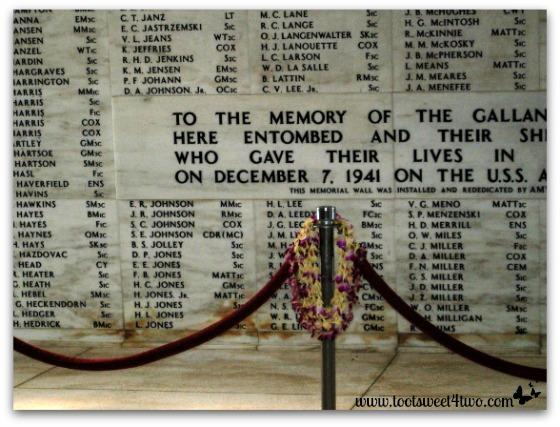The wall at the USS Arizona Memorial at Pearl Harbor