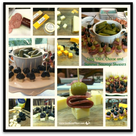Easy Olive Cheese and Summer Sausage Skewers tutorial