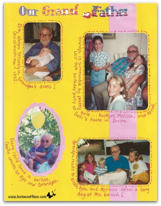 Grandchildren with Grandpa scrapebook page - In the Arms of Love