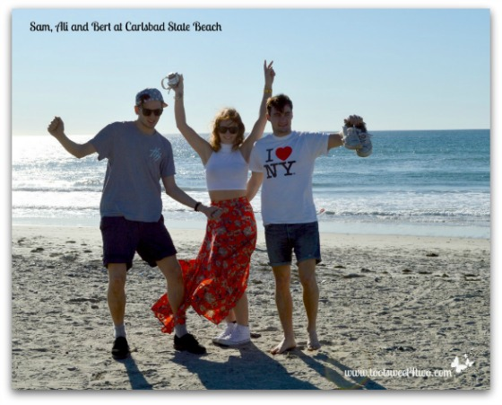 Sam, Ali and Bert at Carlsbad State Beach - 42 San Diego Restaurants to Savor