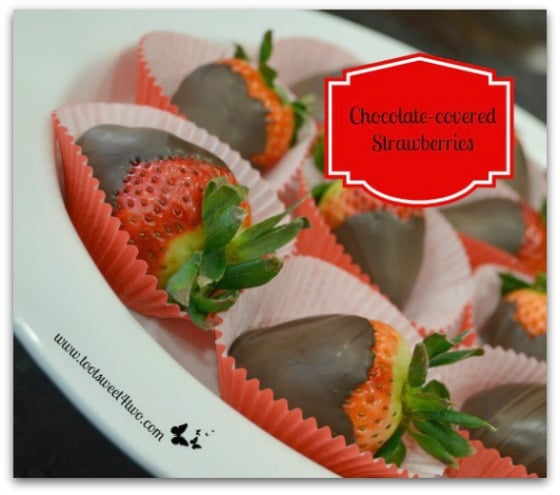 Chocolate-covered Strawberries at an angle
