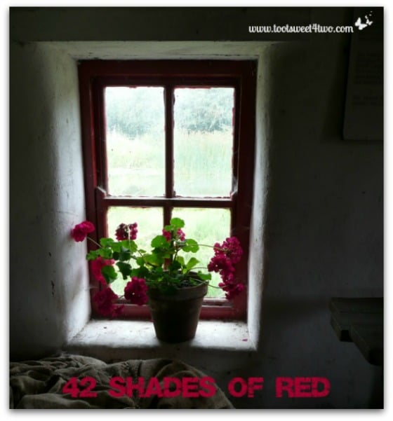 Red window frame in Irish cottage - 42 Shades of Red