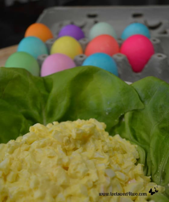 Finished Egg Salad with Easter eggs in the background!