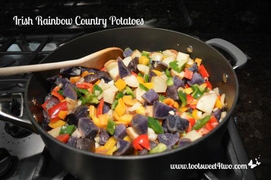 Irish Rainbow Country Potatoes in the pan