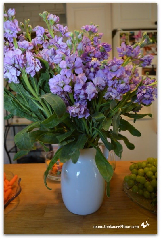 Lavender Flowers in a White Pitcher