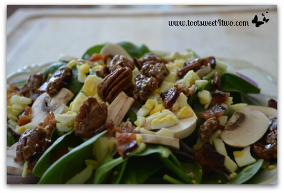 Spinach Salad with Brown Sugar Bacon and Candied Black Pepper Pecans