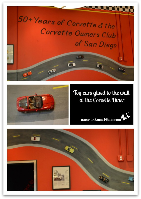 Toy Cars on the Wall at the Corvette Diner
