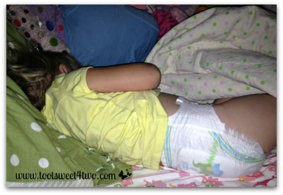 sleeping in white cloud diapers