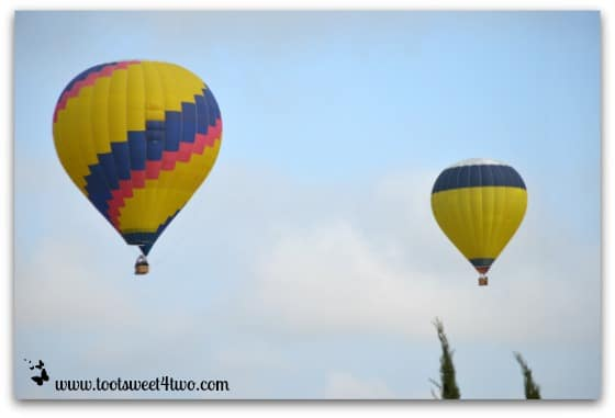 2 Hot Air Balloons skimming the tree tops