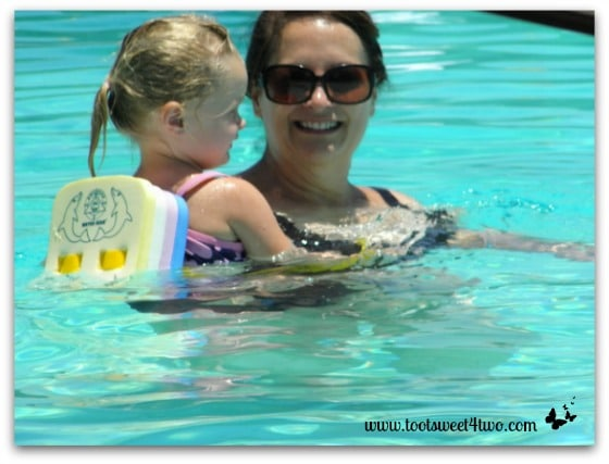 Carole and Princess P in the pool