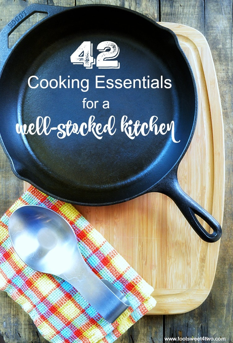Do you know someone just getting their first place? Starting out, starting fresh, starting over? A cooking enthusiast, bride-to-be, newlywed, recent graduate or someone just getting their first apartment or home? 42 Cooking Essentials for a Well-stocked Kitchen continues the series of kitchen supplies and includes a FREE printable checklist to get you started. | www.tootsweet4two.com
