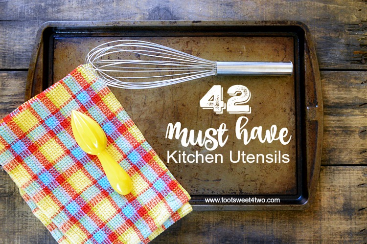 Do you know someone just getting their first place? Starting out, starting fresh, starting over? A cooking enthusiast, bride-to-be, newlywed, recent graduate or someone just getting their first apartment or home? This list of 42 Must Have Kitchen Utensils includes a FREE printable checklist to use as a reference to start you collection of kitchen utensils or to use as a checklist for your household inventory binder. | www.tootsweet4two.com