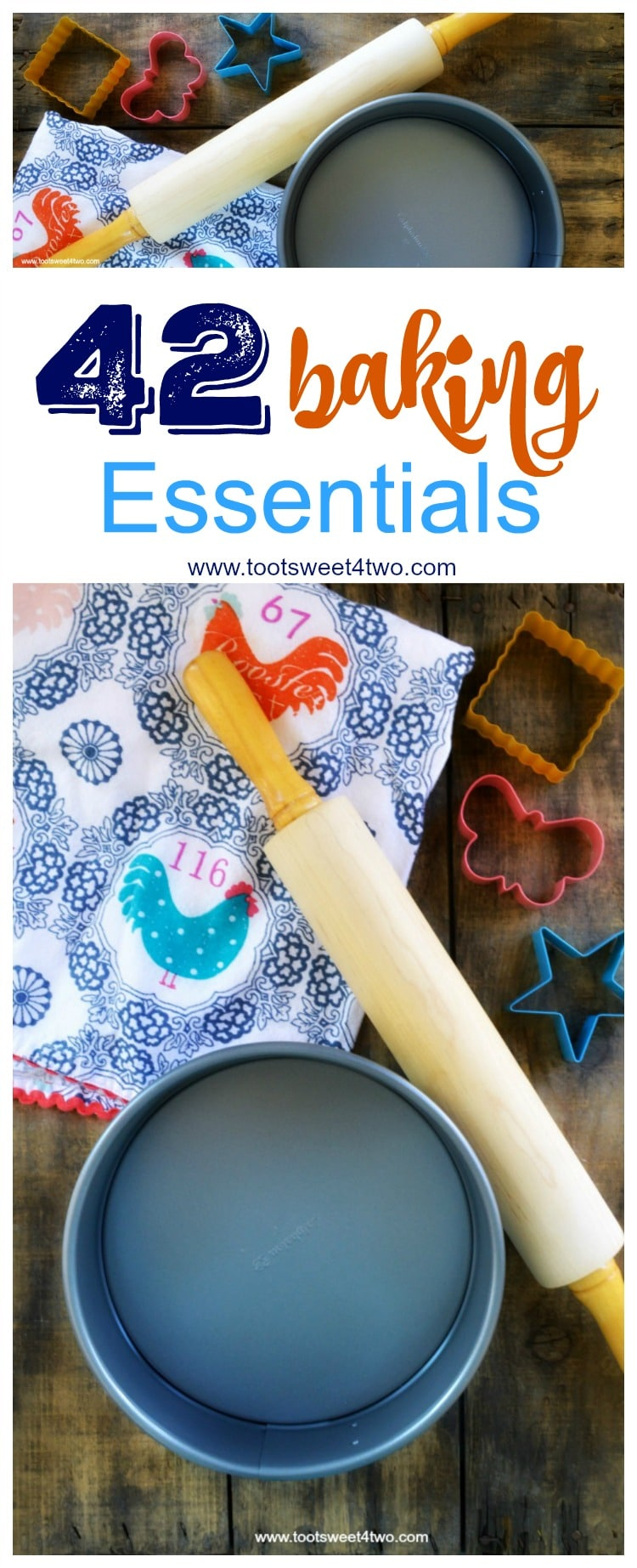 Do you know someone just getting their first place? Starting out, starting fresh, starting over? A baking enthusiast, bride-to-be, newlywed, recent graduate or someone just getting their first apartment or home? A comprehensive list of baking supplies and essential baking equipment for the home baker, 42 Baking Essentials includes a FREE printable checklist to use as a reference to start your baking tools, baking utensils and kitchen baking equipment and supplies collection or to use as a checklist for your household inventory binder. | www.tootsweet4two.com