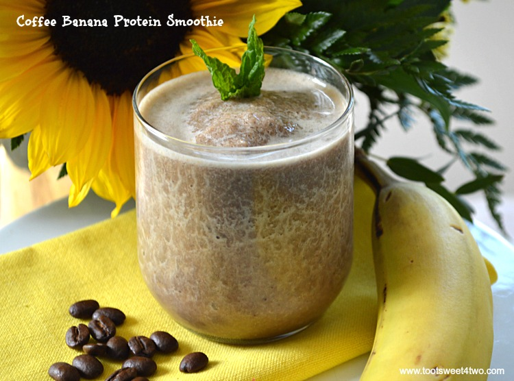 Coffee Banana Protein Smoothie - an easy, delicious and healthy way to start your morning. Coffee and whey protein powder supply the energy and a serving of fruit, a frozen banana, makes it the perfect blender breakfast. Whether you are watching calories for weight loss or just need a quick breakfast with extra protein, this recipe delivers. | www.tootsweet4two.com