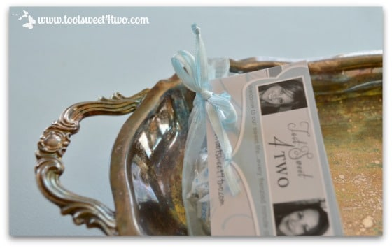 Easy Party Favors Featuring You - another close-up of party favor on old silver tray