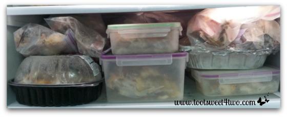 Freezer shelf full of bones