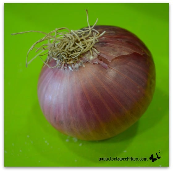 Red onion for Tri-Colored Roasted Potato Salad