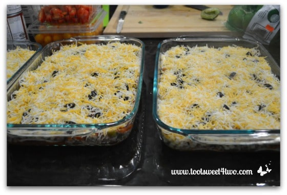 Add shredded cheese - Charlie's Lite Layered Mexican Casserole