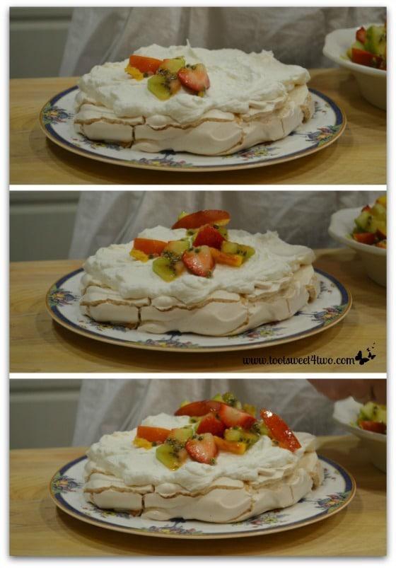 Adding fruit to Vanessa's Pavlova