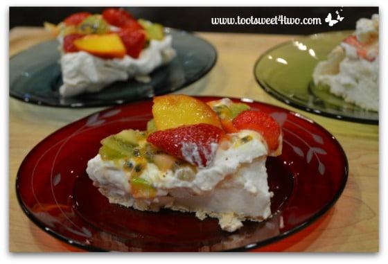 Close-up of Vanessa's Pavlova on dessert plates
