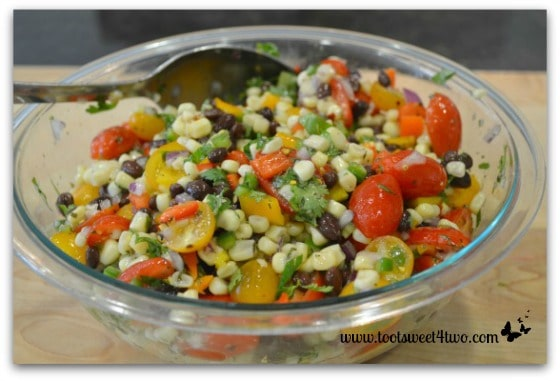 Mexican Corn Salad mixed with dressing