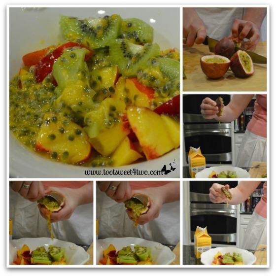 Preparing passion fruit for Vanessa's Pavlova