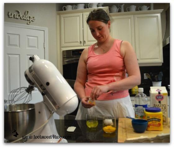 Vanessa separating the eggs for Pavlova