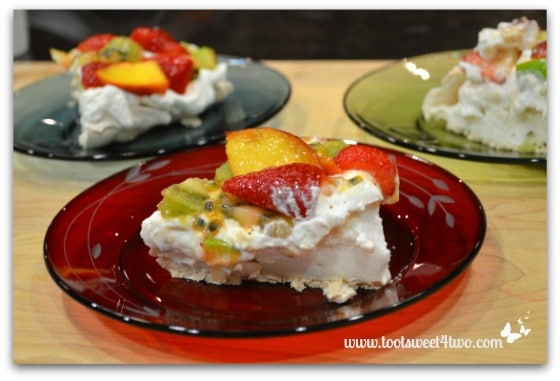 Vanessa's Pavlova on dessert plates