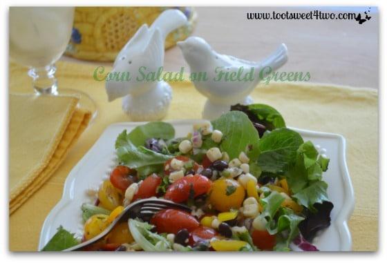 Corn Salad on Field Greens close-up