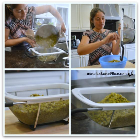 Draining the cooked cactus for Ensalada de Nopales