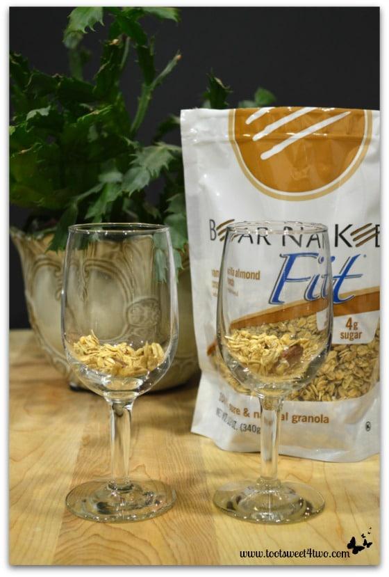Granola in glasses for Black Fig Parfait