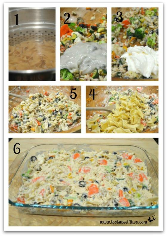 Mixing casserole for Garden Vegetable Tuna Casserole